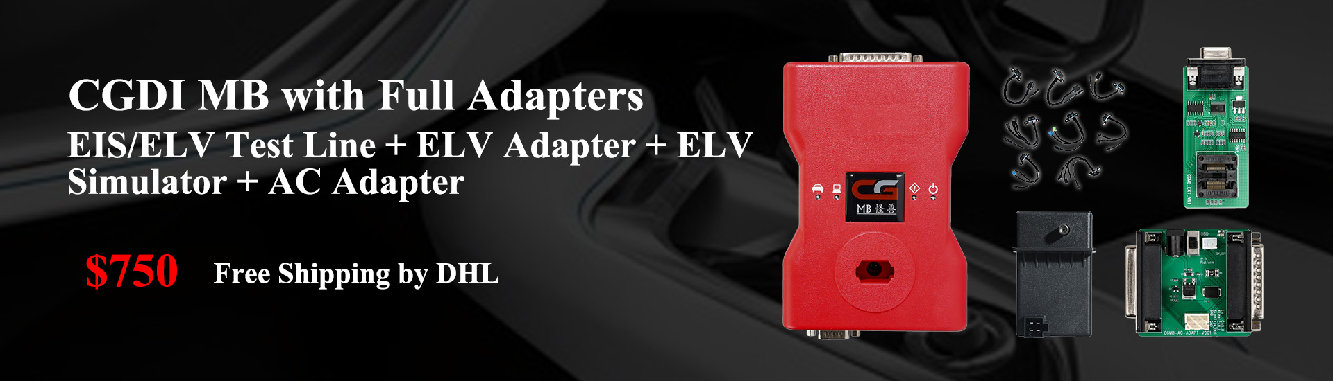 CGDI MB with Full Adapters including ELV Test Line + ELV Adapter + ELV Simulator + AC Adapter