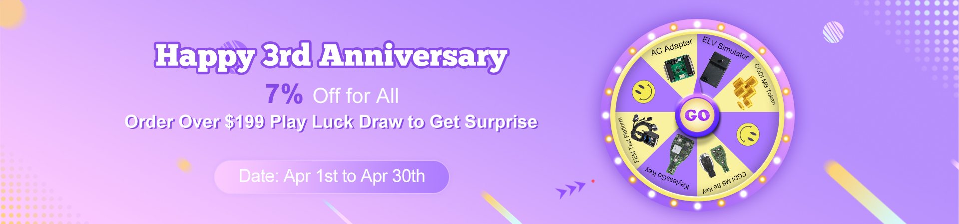 3rd Anniversary, 7% Off Plus Lucky Draw
