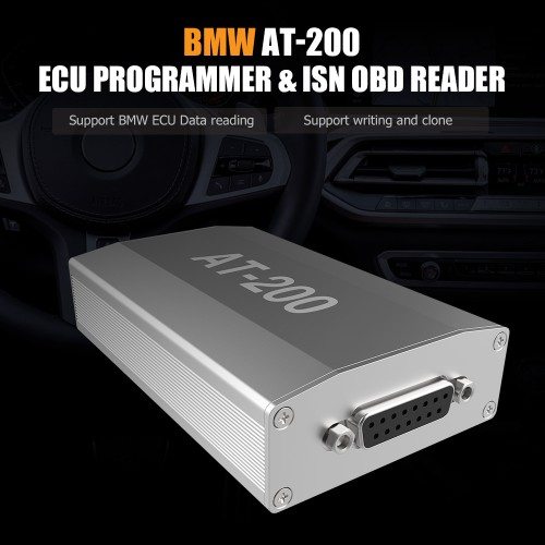 BMW AT200 AT-200 V1.8.1 ECU Programmer & ISN OBD Reader Support MSV90/MSD85 Newly Add VW Bosch MED17/DQ200 ECU Clone