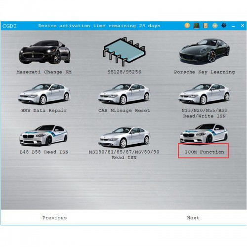 Free Activation ICOM Function Update on CGDI BMW (Not Support Windows XP System)