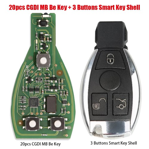 20pcs Original CGDI MB Be Key with Smart Key Shell 3 Button for Mercedes Benz Complete Key Package Free Shipping by DHL
