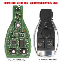 [7% Off $380.37] 20pcs Original CGDI MB Be Key with Smart Key Shell 3 Button for Mercedes Benz Complete Key Package Free Shipping by DHL